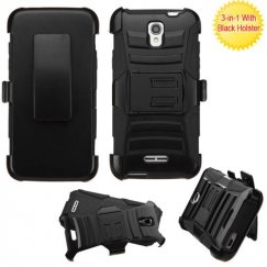 Alcatel One Touch Elevate Black/Black Advanced Armor Stand Case with Black Holster