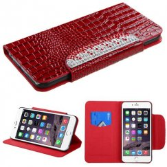 Apple iPhone 6 Plus Red Crocodile Skin/Gradient Diamante Belt Wallet