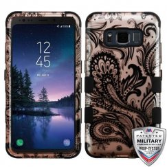 Samsung Galaxy S8 Active Phoenix Flower (2D Rose Gold)/Black Hybrid Case Military Grade