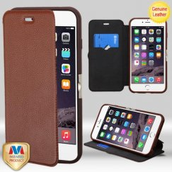 Apple iPhone 6/6s Plus Brown Full-Grain Genuine Leather Wallet with Natural Black/Brown Tray