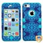 Apple iPhone 5c Purple/Blue Damask/Tropical Teal Hybrid Case