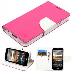 LG K3 Hot Pink Pattern/White Liner wallet with Card Slot