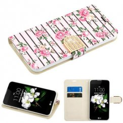 LG K8 Pink Fresh Roses Diamante Wallet with Diamante Belt