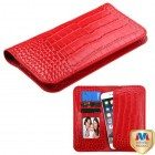 Universal Red Crocodile-Embossed Genuine Leather Wallet Pouch