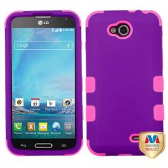 LG Optimus L90 Rubberized Grape/Electric Pink Hybrid Case