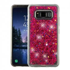 Samsung Galaxy S8 Active Hot Pink Quicksand Glitter Hybrid Case