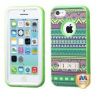 Apple iPhone 5c Tribal Sun/Electric Green Hybrid Case with Stand