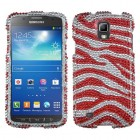 Samsung Galaxy S4 Active SGH-i537 Zebra Skin (Silver/Red) Diamante Case