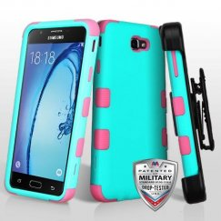 Samsung Galaxy On7 Rubberized Teal Green/Electric Pink Hybrid Case Military Grade with Black Horizontal Holster