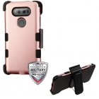 LG V20 Rose Gold/Black Hybrid Case with Black Horizontal Holster