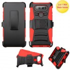 LG V20 Black/Red Advanced Armor Stand Case with Black Holster