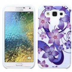 Samsung Galaxy E5 Purple Hibiscus Flower Romance /White Advanced Armor Case
