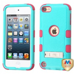 Apple iPod Touch (6th Generation) Natural Teal Green/Electric Pink Hybrid Case with Stand