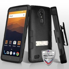 ZTE Blade Max 3 / Max XL Natural Black/Black Hybrid Case with Stand Military Grade with Black Horizontal Holster