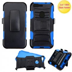 Google Pixel Black/ Blue Advanced Armor Stand Case Combo with Black Holster