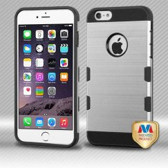 Apple iPhone 6 Plus Silver/Black Brushed Hybrid Case