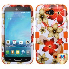 LG Optimus L90 Hibiscus Flower Romance/Orange Hybrid Case
