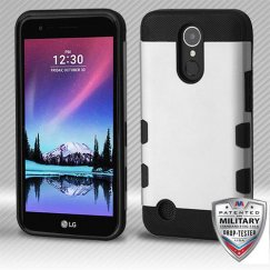 LG K10 Rubberized Space Silver/Black Hybrid Case Military Grade
