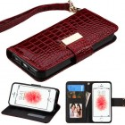 Apple iPhone SE Burgundy Crocodile-Embossed Wallet