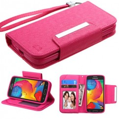 Samsung Galaxy Avant Hot Pink D'Lux Wallet with Magnetic Closure