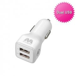 White Car Charger Adapter with Dual USB output - 3.1 Amps