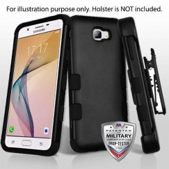 Samsung Galaxy J5 Prime Rubberized Black/Black Hybrid Case Military Grade with Black Horizontal Holster