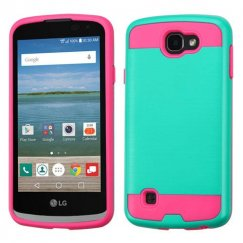 LG Optimus Zone 3 / Spree Teal Green/Hot Pink Brushed Hybrid Case