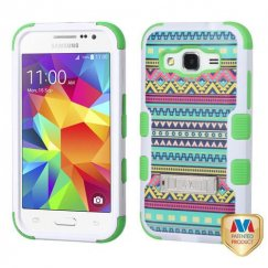 Samsung Galaxy Core Prime Tribal Sun/Electric Green Hybrid Case with Stand