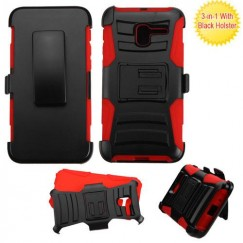 Alcatel Stellar / Tru 5065 Black/Red Advanced Armor Stand Case with Black Holster