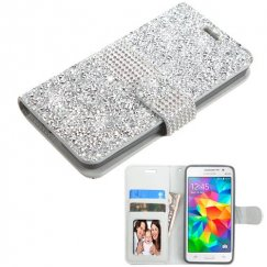 Samsung Galaxy Grand Prime Silver Mini Crystals with Silver Belt Wallet