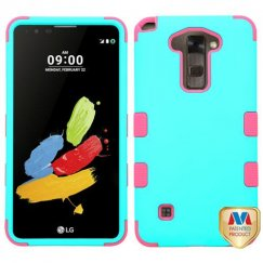 LG G Stylus 2 Rubberized Teal Green/Electric Pink Hybrid Case