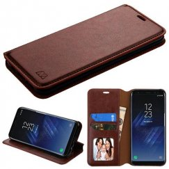 Samsung Galaxy S8 Brown Wallet with Tray