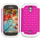 Samsung Galaxy Light Hot Pink/Solid White Luxurious Lattice Dazzling TotalDefense Case