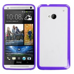HTC One M7 Transparent Clear/Solid Purple Gummy Cover