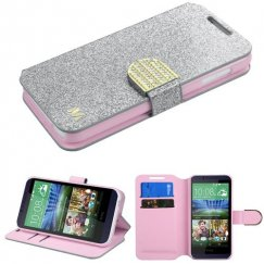 HTC Desire 510 Silver Glittering Wallet with Diamante Belt