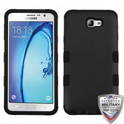 Samsung Galaxy On7 Rubberized Black/Black Hybrid Case Military Grade