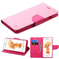 Apple iPhone 7 Plus Pink Pattern/Hot Pink Liner Wallet with Card Slot