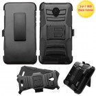 Alcatel Fierce 4 / Pop 4 Plus / Allura Black/Black Advanced Armor Stand Protector Cover (With Black Holster)