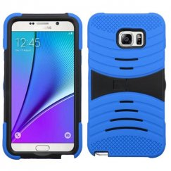 Samsung Galaxy Note 5 Black/Blue Wave Symbiosis Case with Horizontal Stand