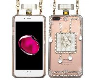 Apple iPhone 7 Plus Little Flowers/White Crystals Diamante Perfume Bottle Candy Skin Cover with Chain