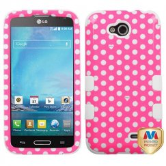 LG Optimus L90 Dots(Pink/white)/White Hybrid Case