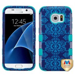 Samsung Galaxy S7 Purple/Blue Damask/Tropical Teal Hybrid Case