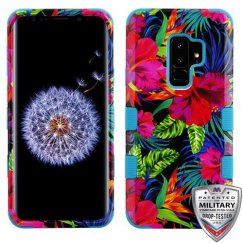 Samsung Galaxy S9 Plus Electric Hibiscus/Tropical Teal Hybrid Phone Case Military Grade