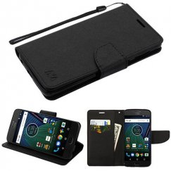 Motorola Moto G6 Black Pattern/Black Liner wallet with card slot