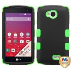 LG Tribute Rubberized Black/Electric Green Hybrid Phone Protector Cover