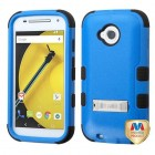 Motorola Moto E 2nd Gen Natural Dark Blue/Black Hybrid Phone Protector Cover (with Stand)