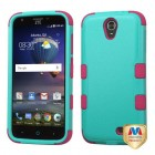 ZTE Grand X 3 / Warp 7 Natural Teal Green/Electric Pink Hybrid Case