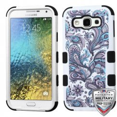 Samsung Galaxy E5 Purple European Flowers/Black Hybrid Case