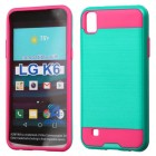LG X Power / K6 Teal Green/Hot Pink Brushed Hybrid Case
