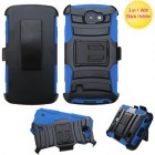 LG Optimus Zone 3 / Spree Black/ Blue Advanced Armor Stand Case with Black Holster